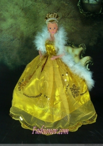 Luxurious Appliques Yellow Strapless Party Clothes Fashion Dress for Noble Barbie