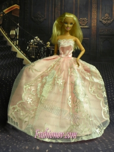New Fashion Princess Baby Pink Dress Gown For Barbie Doll