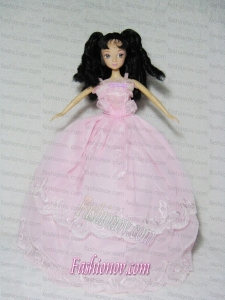 Perfect Pink Gown With Embroidery Dress For Barbie Doll
