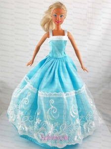 Pretty Blue Princess Dress With Lace Gown For Barbie Doll