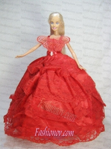 Pretty Red Gown With Lace Dress For Barbie Doll