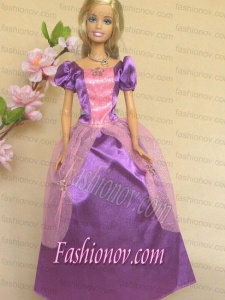 Purple Short Sleeves Handmade Dresses Fashion Party Clothes Gown Skirt For Barbie Doll