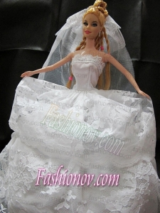 Romantic Wedding Dress With Lace Gown For Barbie Doll