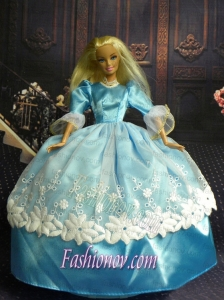 Sweet Ball Gown Baby Blue and Lace Handmade Dresses Fashion Party Clothes Gown Skirt For Barbie Doll