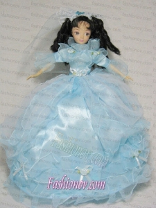 Sweet Blue Gown With 3/4 Length Sleeves For Barbie Doll