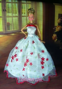 Sweet Lace White Strapless Party Clothes Fashion Dress for Noble Barbie