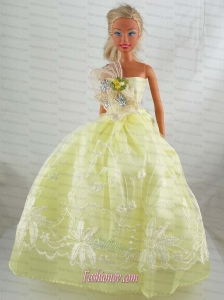 Yellow Green Beautiful Gown With Embrodery Dress For Barbie Doll