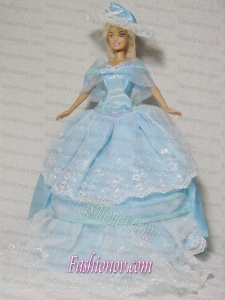 Beautiful Blue Gown With Embroidery Dress For Noble Barbie Doll