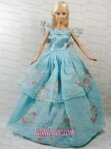 Beautiful Blue Princess Dress With Appliques Gown For Barbie Doll