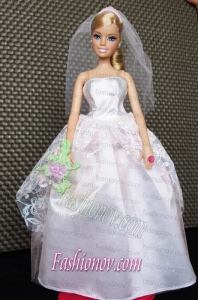 Beautiful Handmade Pink Barbie Tulle Wedding Dress For Barbie Doll