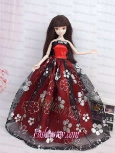 Black and Red Ball Gown Embroidery Barbie Doll Dress
