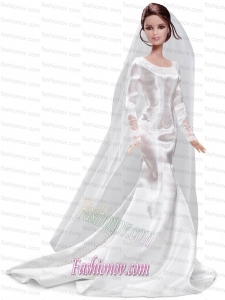 Elegant Handmade White Barbie Satin Wedding Dress For Barbie Doll