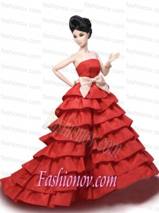 Elegant Party Dress with Red Taffeta Made to Fit the Barbie Doll