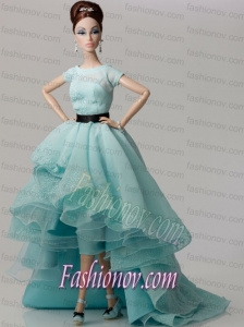 Elegant White Gown with Blue Organza Made to Fit the Barbie Doll