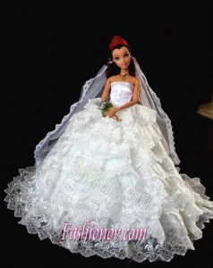 Exclusive Wedding Clothes Ruffled Layers Barbie Doll Dress