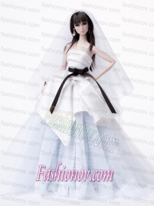 Fashion Handmade Barbie White Tulle Wedding Dress For Barbie Doll