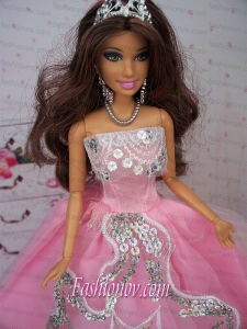 Fashionable Ball Gown Pink Party Clothes Barbie Doll Dress