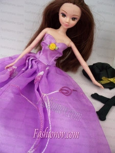 Hand Made Flower Embroidery Lavender Princess Party Clothes Gown For Barbie Doll Dress