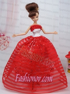 Hand Made Flowers Red Ball Gown Party Clothes Barbie Doll Dress