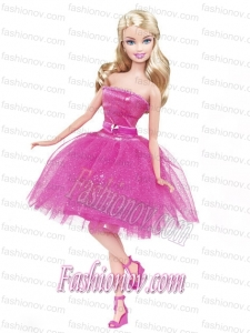 Lovely Princess Beading Sequin Hot Pink Gown For Barbie Doll