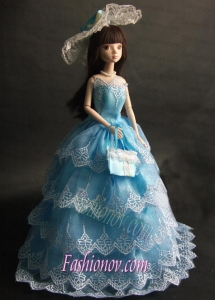 Luxurious Baby Blue Party Dress with Organza Made to Fit the Barbie Doll