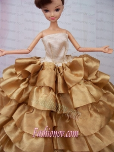 Luxurious Ball Gown Asymmetrical Gold Ruffled Layeres Clothes Party Fashion Dress For Noble Barbie