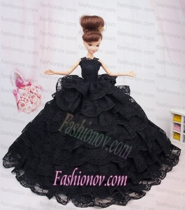 Luxurious Black Lace With Ruffled Layeres Party Dress For Barbie Doll
