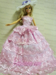Luxurious Handmade Barbie Lace Wedding Dress For Barbie Doll