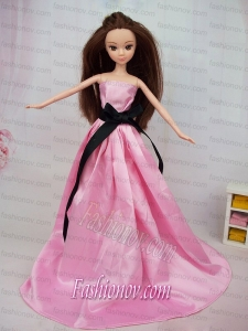 Luxurious Rose Pink Sash With Party Dress For Barbie Doll
