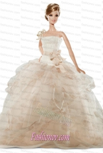New Beautiful Handmade Champagne Organza Party Dress for Noble Barbie