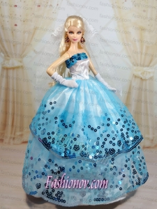 Popular Ball Gown Party Clothes White and Blue Barbie Doll Dress