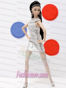 Popular Grey Holiday Dress with Sequins Made to Fit the Barbie Doll