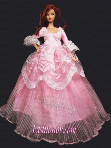 Pretty Princess Pink Dress Gown for Barbie Doll