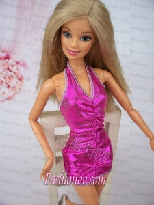 Sexy Halter Fuchsia Mini-length Party Clothes Fashion Dress For Noble Barbie