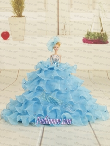 2015 Aqua Blue Bowknot Barbie Doll Dress