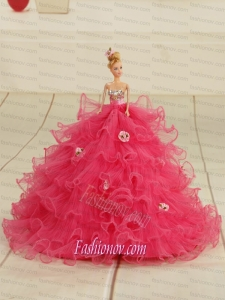 2015 Organza Bowknot Hot Pink Barbie Doll Dress