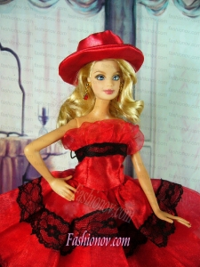 Amazing Red Dress With Lace Made To Fit The Barbie Doll