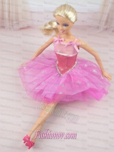 Cute Rose Pink Straps Beaded Decorate Party Dress For Barbie Doll