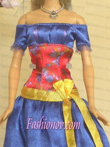 Elegant Blue Off The Shoulder Appliques Handmade Party Clothes Fashion Dress For Noble Barbie