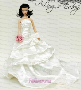 Elegant Wedding Dress For Barbie Doll With Ruffled Layers and Brush Train