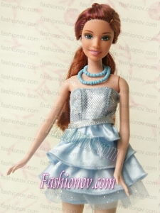 Light Blue Short Party Dress For Noble Barbie With Sequin and Ruffles