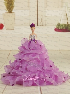 Pretty Bowknot Organza Lilac Barbie Doll Dress