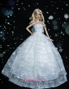 Romantic Baby Blue Strapless Lace Fashion Wedding Dress for Noble Barbie