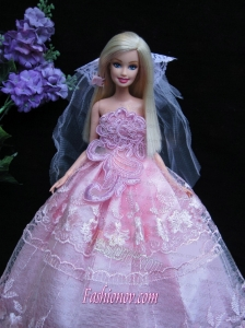 Romantic Baby Pink Strapless Lace Fashion Wedding Dress for Noble Barbie