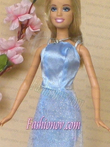 Simple Baby Blue Holiday Dress To Barbie Doll