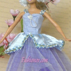Sweet Lilac Lace Fashion Party Clothes Fashion Dress for Noble Barbie