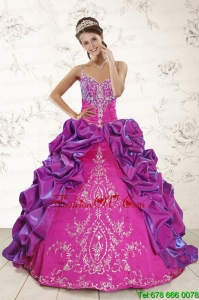2015 Classic Ball Gown Embroidery Court Train Quinceanera Dresses in Purple