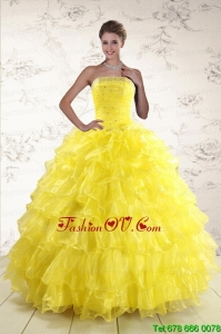 2015 New Style Yellow Quinceanera Dresses with Beading and Ruffles