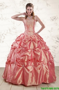 Beautiful Beading and Appliques Best Watermelon Red Sweet 16 Dresses