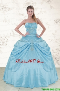 Best Discount Aqua Blue Strapless Sweet 15 Dress with Appliques